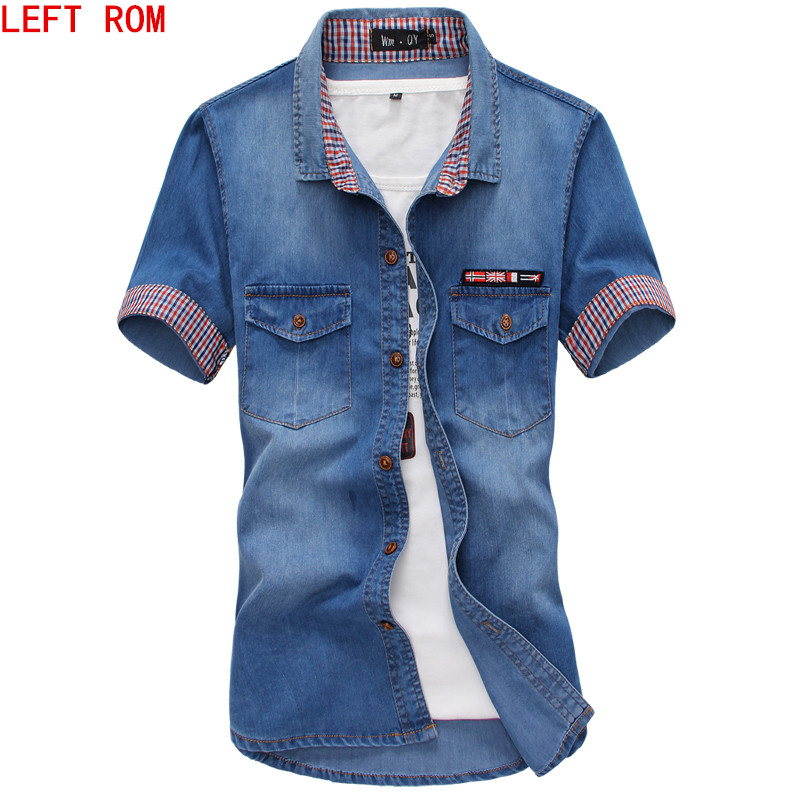 2017 Hot Sale Men's Solid Short-sleeved Shirt Male Casual Comfortable Korean Style Turn-down Collar Denim Shirts