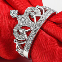 Luxury Princess Crown Rings Simulated Moissanite Wedding Rings for Women 33 Pieces 0.5ct Female Jewelry