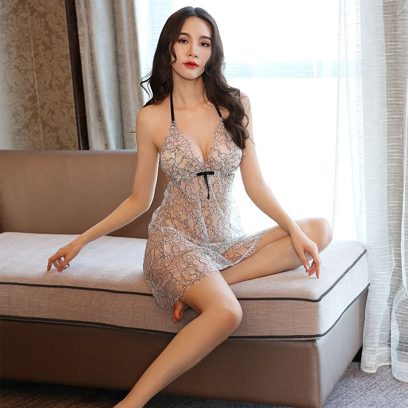 Negligee Sexy 2019 New Ladies Sexy Lingerie Eyelashes Lace Sling Pajamas Nightdress Set Temptation <font><b>Sex</b></font> Clothes For Women Porno image