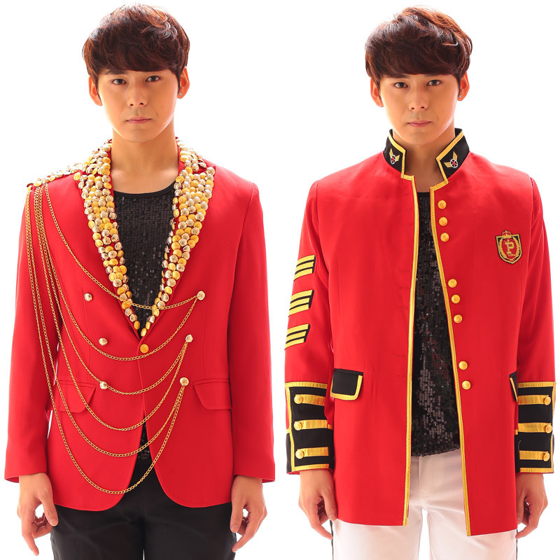 Jazz Dance Costumes British Red Suit Jacket Clothing Night Club Coat Hip Hop Clothes Male Singer Stage Performance Wear DT794