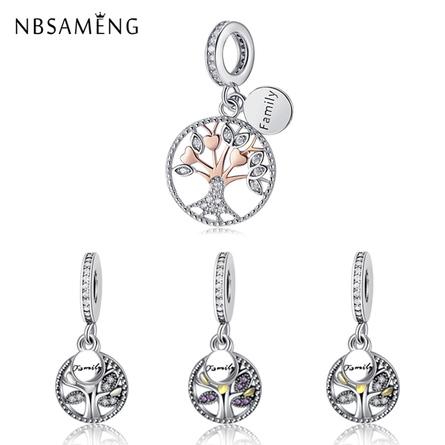 New Authentic 925 Sterling Silver Family Tree Charm Beads Fit Original Pandora Bracelet Luxury Diy Making
