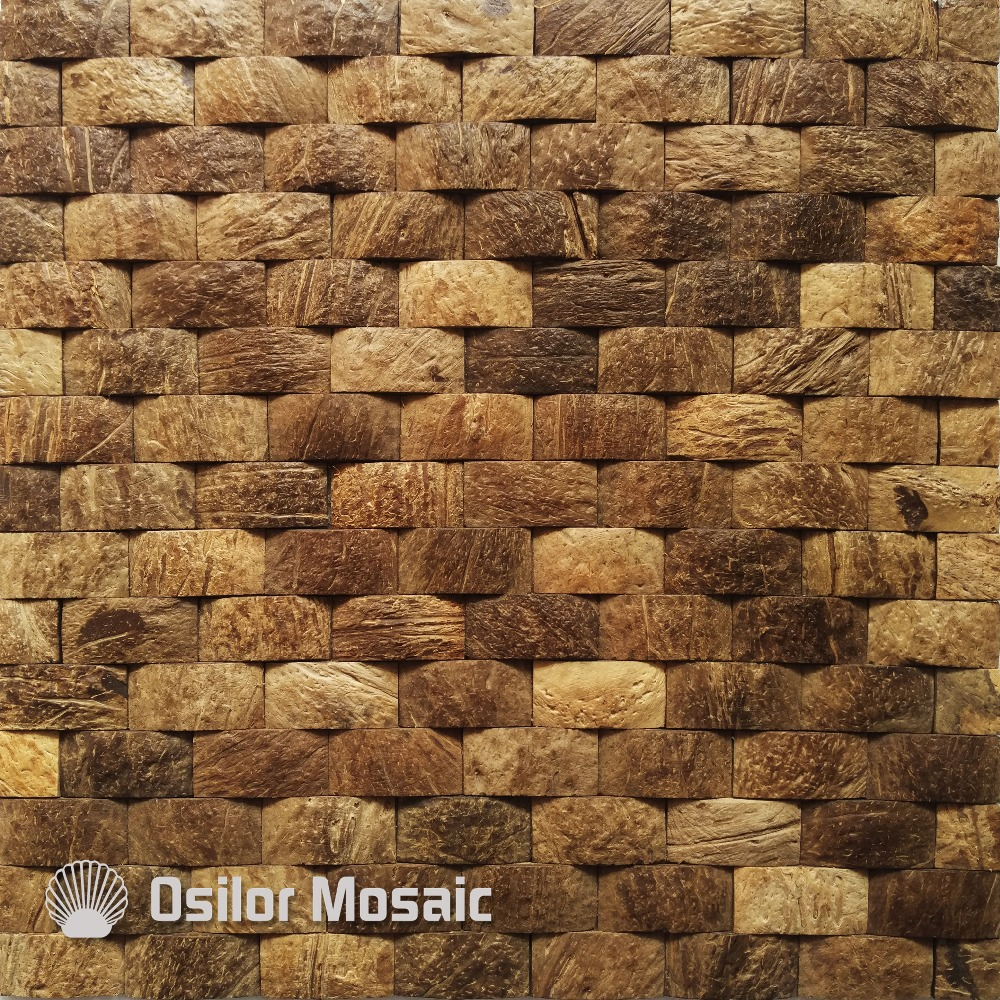 Natural 100% coconut shell mosaic tile for house decoration Southeast Asia style wall tiles for hotel decoration brick pattern 100% blacklip sea shell natural black color mother of pearl mosaic tile for interior house decoration wall tiles