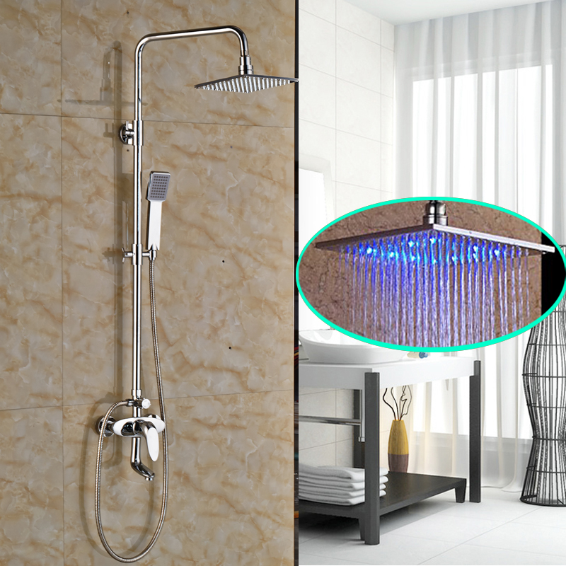 Wholesale and Retail Chrome Finish Bathroom Shower Faucet with 8 Brass LED Rainfall Shower Head