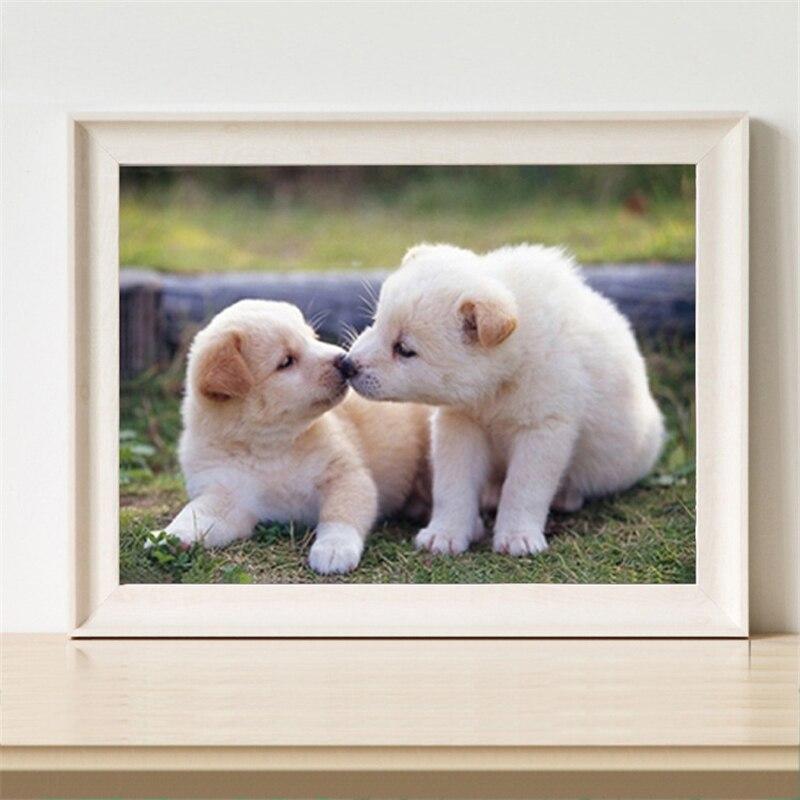 5D Вышивка с кристаллами Животные полный алмазов Вышивка продажи 5d diamond Вышивка Животные собака Поцелуй щенок рукоделие