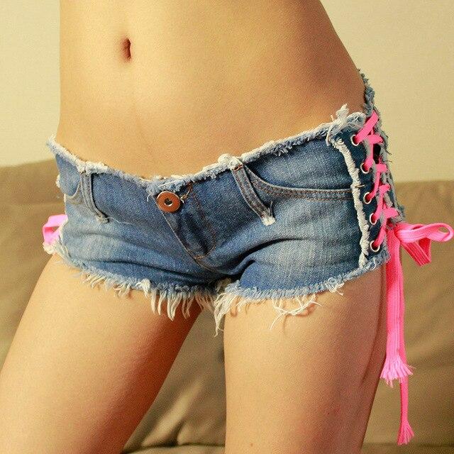 e68f3ab8b girls summer denim elastic shorts sexy fashion low waist mini jeans shorts  woman summer criss cross bow shorts beachwear shorts