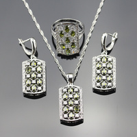 925 Stamp Green Peridot Cubic Zirconia Silver Color Jewelry Sets For Women Necklace Earrings Rings Pendant