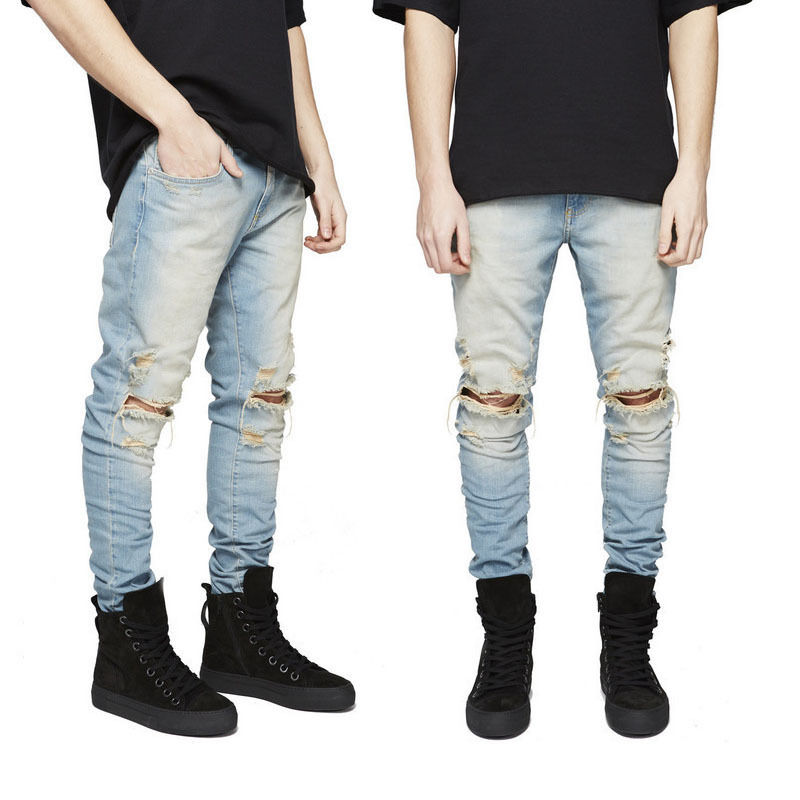 Fashion Men Straight Slim Pants Denim Jean Pants Ripped Skinny Trousers Full Length Hole Blue Black Mid Waist Jeans 2017 new spring and summer jeans men hole causal denim pants mid fashion trousers full length pencil balmai robin top