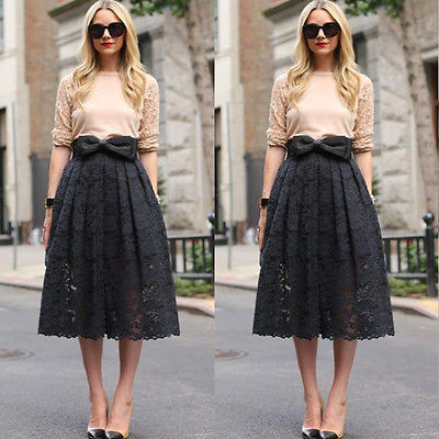 Women Lace High Waist Midi Skate Skirt Midiskirt Pleated Bust ...