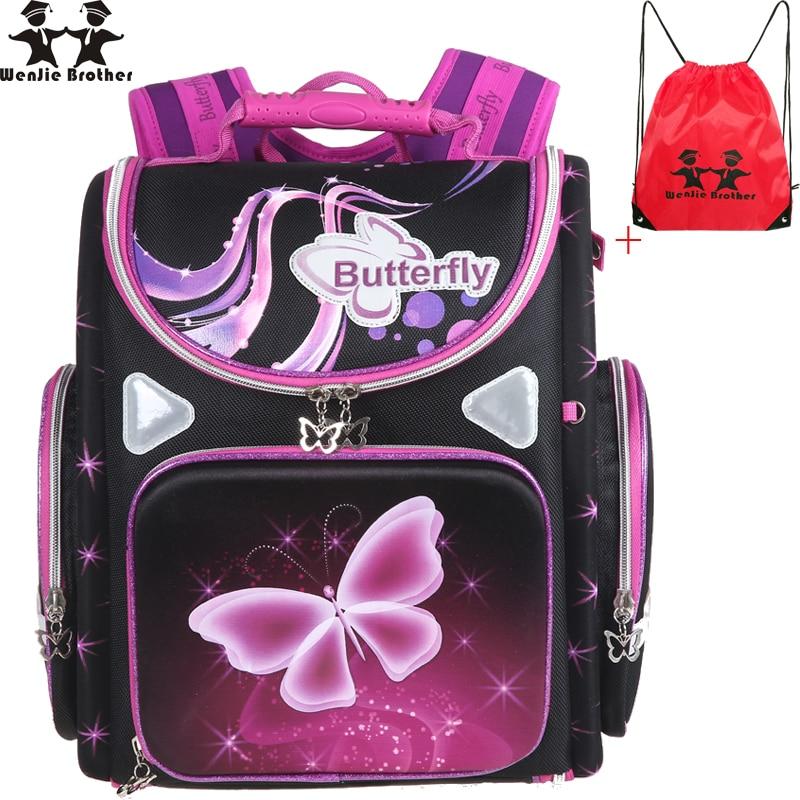 Wenjie frère cartable grande qualité Orthopédiques Filles papillon moto Enfants sacs d'écolier sac à dos d'école Mochila Infantil