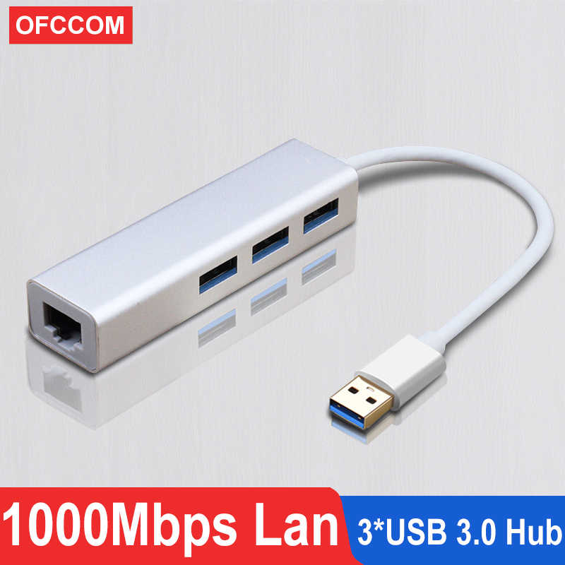 OFCCOM USB Ethernet USB 3.0 2.0 để RJ45 Hub 10/100/1000M Ethernet Adapter Card Mạng USB LAN Cho Macbook Windows