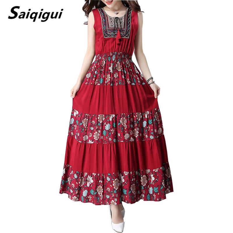Saiqigui 2018 Summer dresses Sleeveless women dress casual A-Line cotton and Linen long dress o-neck vestidos de festa