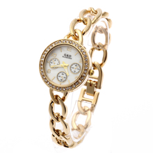 цены G&D Women Gold Stainless Steel Band Rhinestone Luxury Bracelet  Watch Women's  Quartz Analog Wrist Watches
