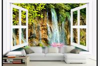 Customzed 3d wallpaper 3d kids wallpaper Forest waterfall background wall decorative painting wall decoration