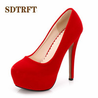 SDTRFT Plus:44 45 46 zapatos mujer 11/14cm thin high heels platform wedding Ankle Strap shoes woman sexy Lady Flock Bridal pumps