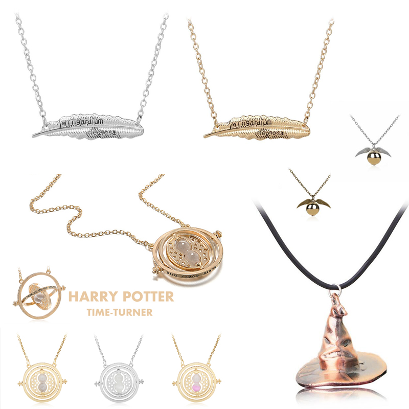 Harri Potter Time Turner Hourglass Necklace Toys For Kid Hermione Granger Magic Red Stone Golden Snitch Harri Potter Necklace