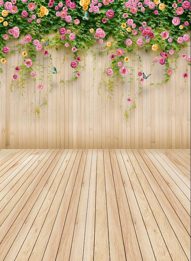 Multipurpose Photography Background Pink Flowers Newborn Backdrops Wood Floor and Wall Background for Studio-Kate цена 2016