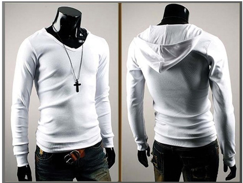 2013 hot style mens long sleeve close fittingamp hooded t