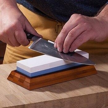 Urijk afilador profesional de cuchillos de cocina piedra doble lado Blanco corindón Whetstone cuchillo japonés afilador herramienta Base de Bambú