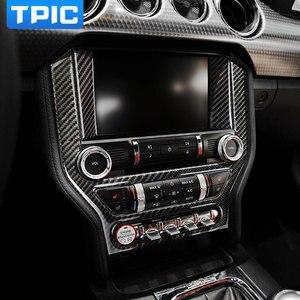 Per Ford Mustang In Fibra di Carbonio di Controllo Centrale Aria Condizionata Pannello CD Copertura Trim Sticker Car Styling 2015-2017 Accessori(China)