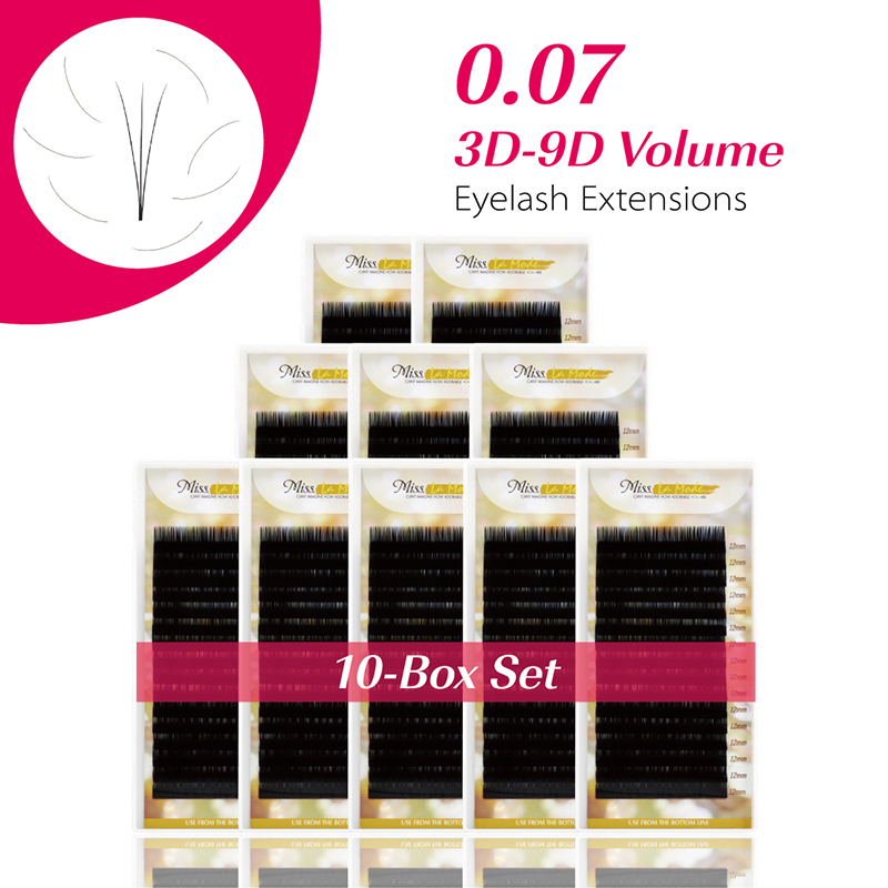 MISS LA MODE 10Pcs lot 0 07 BCD Curl Mink Volume Eyelash Extension New Products Hot