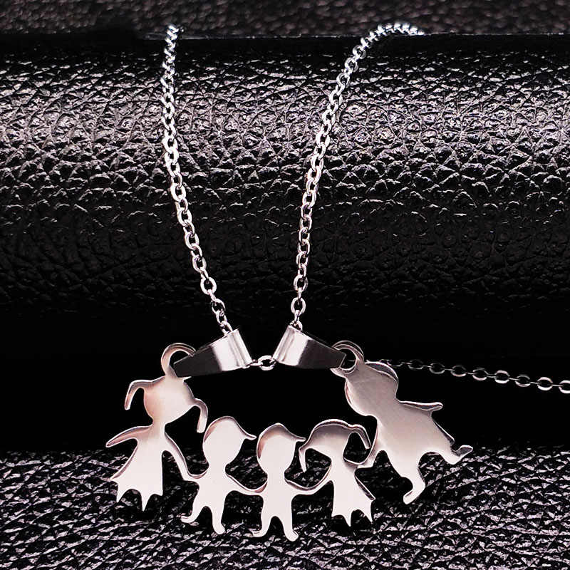 Stainless Steel Girls Boys Necklace Women Mama Kids Neckless Jewelry Accessories Silver Color Family Necklaces Jewerly N7191