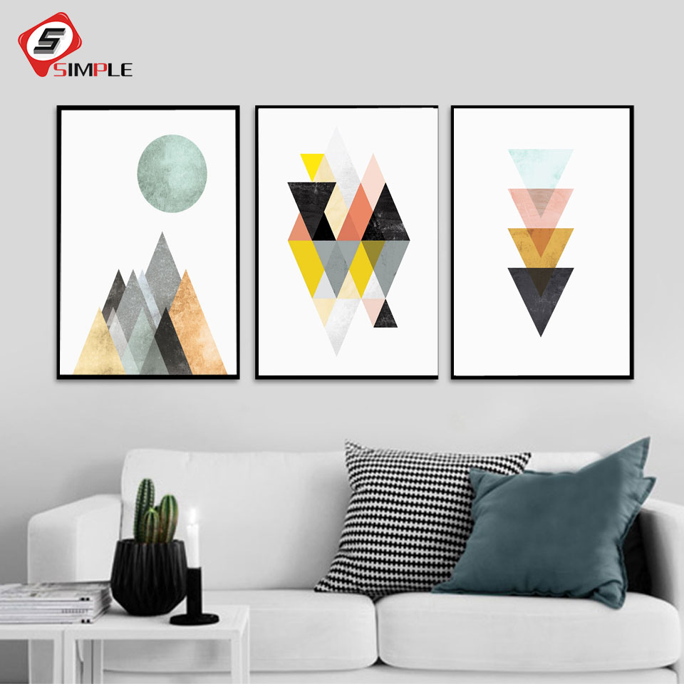 Abstract Geometry Posters Prints Scandinavian Canvas Painting For ...