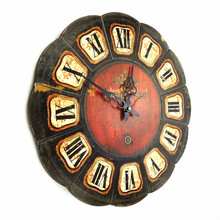 Wood 40cm Large brief clock fashion vintage wall clock chinese style quartz watches and clocks