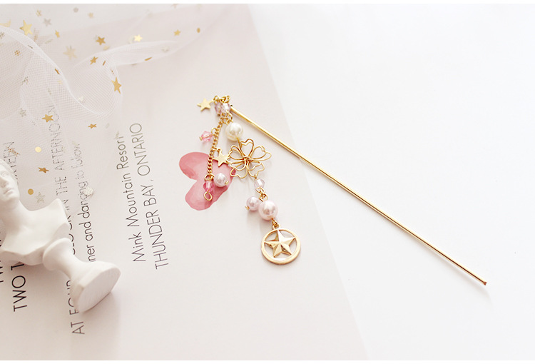 Useful Card Captor Sakura Anime Action Figure Printed Hair Clasp Metal Skeleton Pearl Chain Hairpin Scorpion Accessories Hairclip Toy Toys & Hobbies