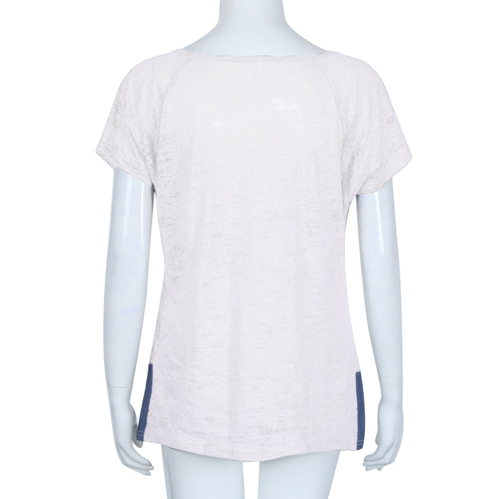 Tamaño Mujer Casual Blusa Vetement Femme 35 Cuello Corta Botón Plus White Manga Ropa Verano Redondo Femenino Suelto De q7YwHn5xp