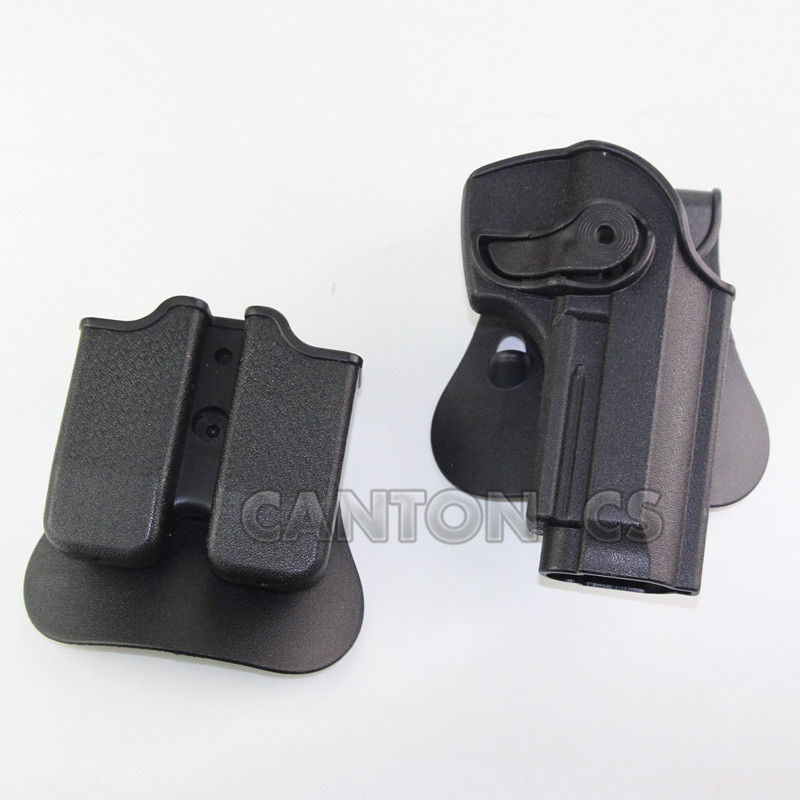 Tactical Polymer Retention Roto Holster With Double Mag holster For Beretta 92 96 M9 Outdoor Protection Gun Accessories