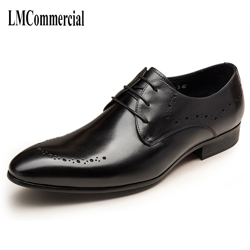 men's business casual shoes with men's leather shoes, fashion wedding shoe breathable spring and autumn Men Dress Shoes cowhide top fashion shoes men mens canvas shoe chaussure homme leather business breathable spring autumn solid medium b m flat lace up