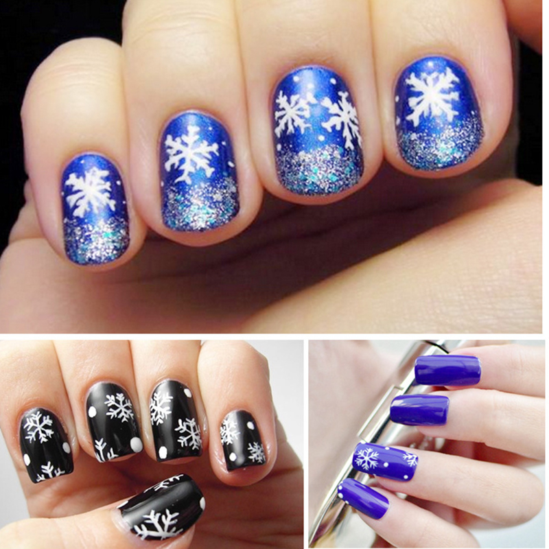 Nail Art 2016 Christmas Snowflake Stickers Star White Print Shining ...