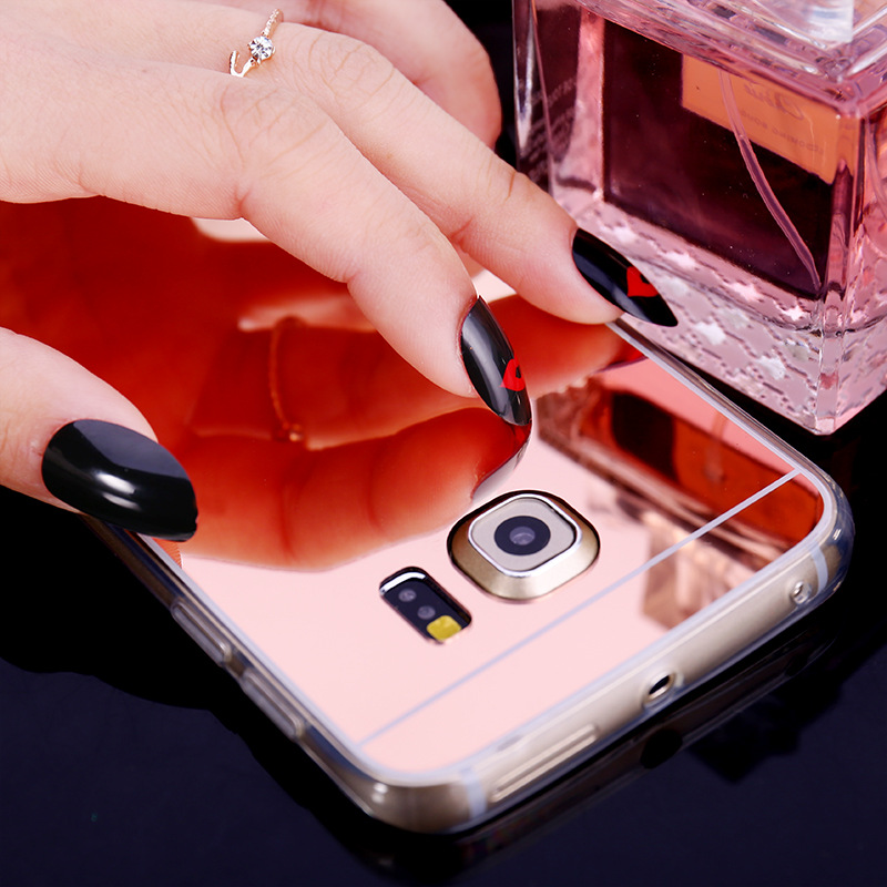 2018 Fashion Electroplating Mirror Case for Samsung Galaxy S8 Soft TPU Shockproof Back Cover for Samsung A5 2017 Galaxy S7 edge