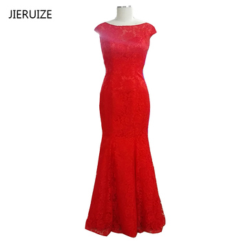 JIERUIZE Red Lace Mermaid Evening Dresses Long Cap Sleeves Backless Prom Dresses Formal Dresses Evening Gowns robe de soiree