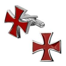 High quality fashion men's shirts Cufflinks Enamel Cufflinks Red Cross brass wholesale and retail