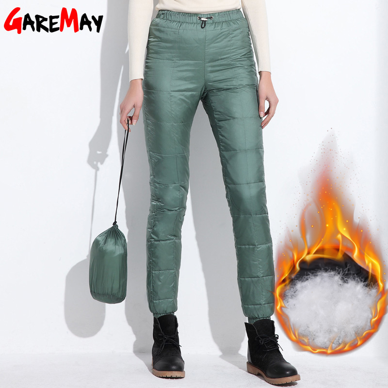 2018 Winter down pants women casual outwear elastic waist work wear women's fashion snow plus size thicken female trousers warm