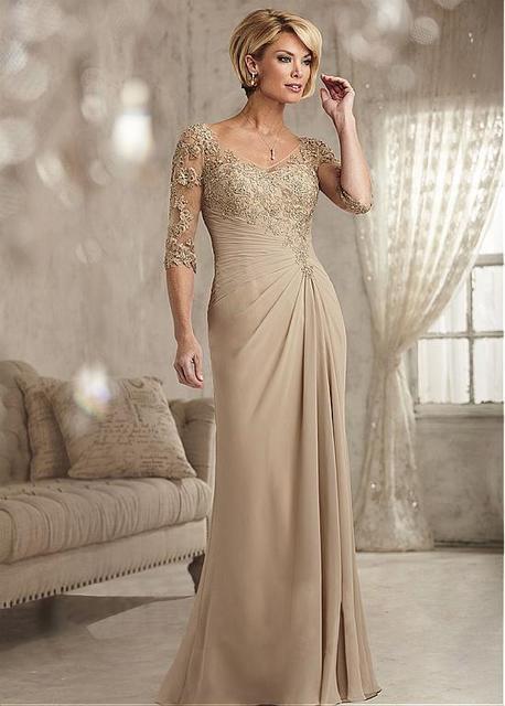 Elegante Champagne Chiffon Com Decote Em V Manga Três Quartos A Linha Mãe da noiva vestidos Plus Size Evening Formal Vestidos Vestido