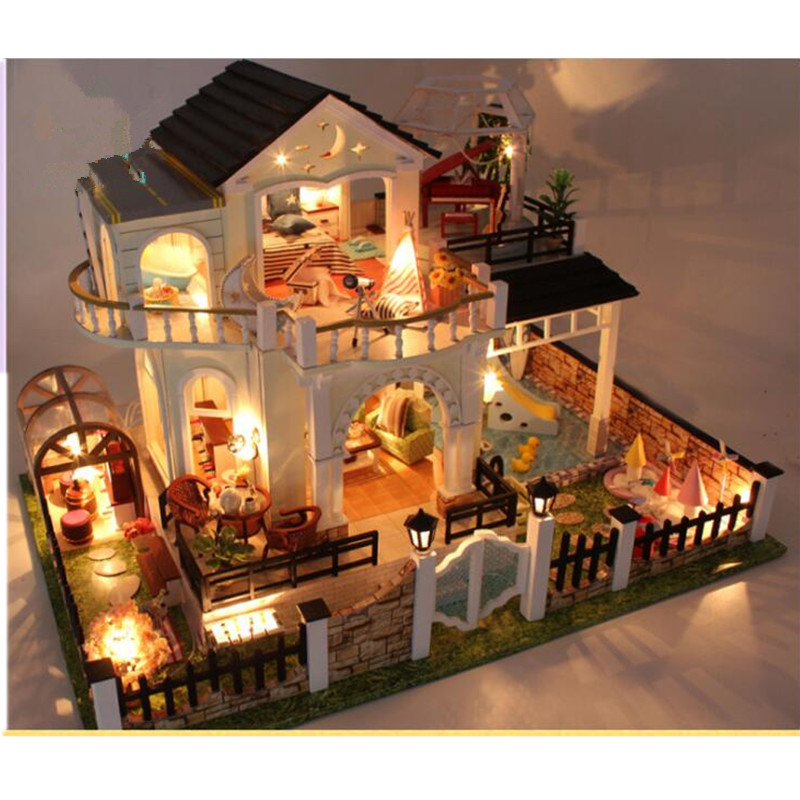 Dolls & Stuffed Toys Sylvanian Families House Diy House Doll Rose Loft Elegant Doll House Wooden Miniatura Toys For Kids Gifts Juguetes Brinquedos Doll Houses