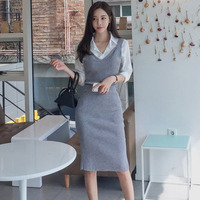 2018 Autumn Women Knitted set sweater dress Knitting Sets Casual Knit Suits 3 Pieces Sets Blouse Shirts Top+skirt