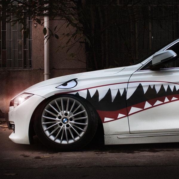 1 pair car sticker decal shark mouth warhawk 2 design. Black Bedroom Furniture Sets. Home Design Ideas