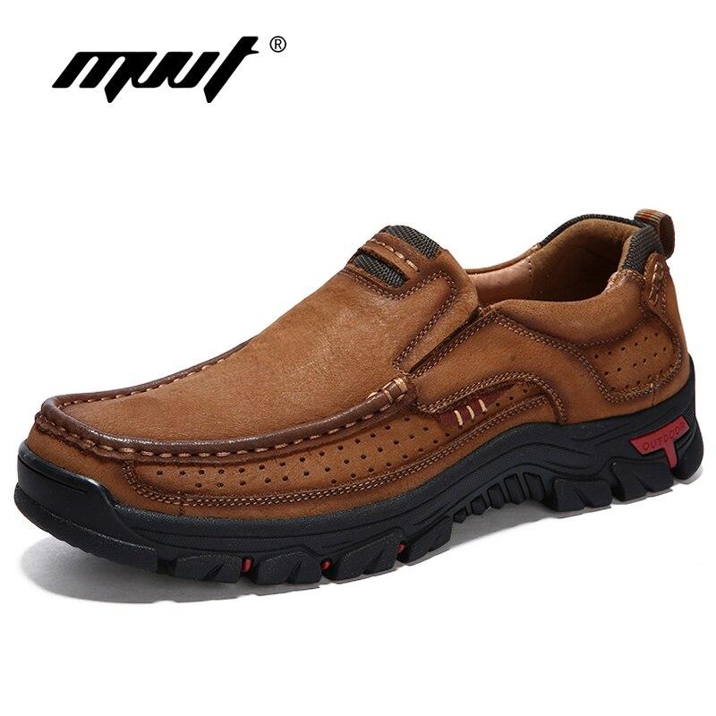 MVVT 100% En Cuir Véritable Chaussures Hommes En Cuir de Vache Casual Chaussures En Plein Air Masculins Haute Qualité Hommes Appartements 2 Style Dentelle- up Homme Chaussures