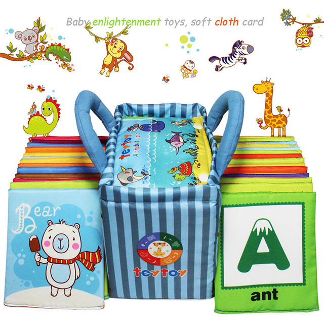 Baby Toy Zoo Series 26pcs Soft Alphabet Cards with Cloth Bag for