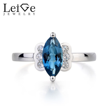Leige Jewelry London Blue Topaz Ring Topaz Promise Ring November Birthstone Marquise Cut Blue Gemstone 925 Sterling Silver Gifts