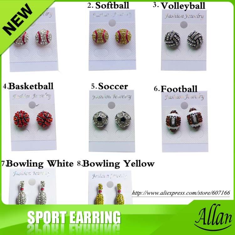 Rhinestone Charm Softball baseball volleyball football soccer sports college Earrings