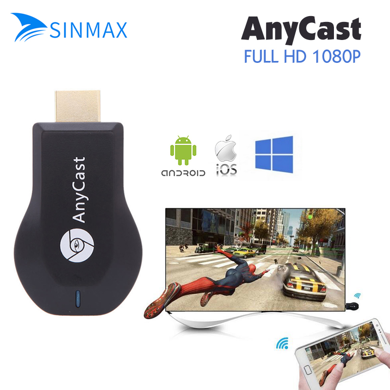 Sinmax AnyCast 1080 P Wireless Wifi Schermo TV Dongle AirPlay Miracast Dongle Mini TV Stick per Apple IOS Android finestra