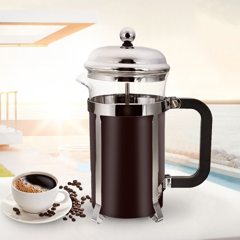 600ML French Press Coffee Plunger Maker Leaf Carafe Stainless Steel Filter Coffee Pot Coffee Maker Kettle