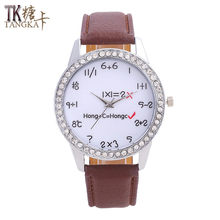 TANGKA hot Leisure ladies leather watch diamonds mathematical formula pointer dial solid color high quality fashion men watch(China)