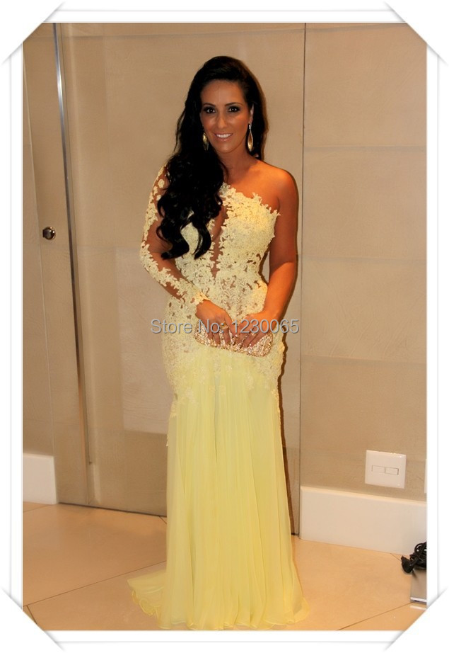 Custom New Fashion One Shoulder Sexy Illusion Appliqued Yellow Long Sleeve 2018 Open Back Prom Gown Mother Of The Bride Dresses