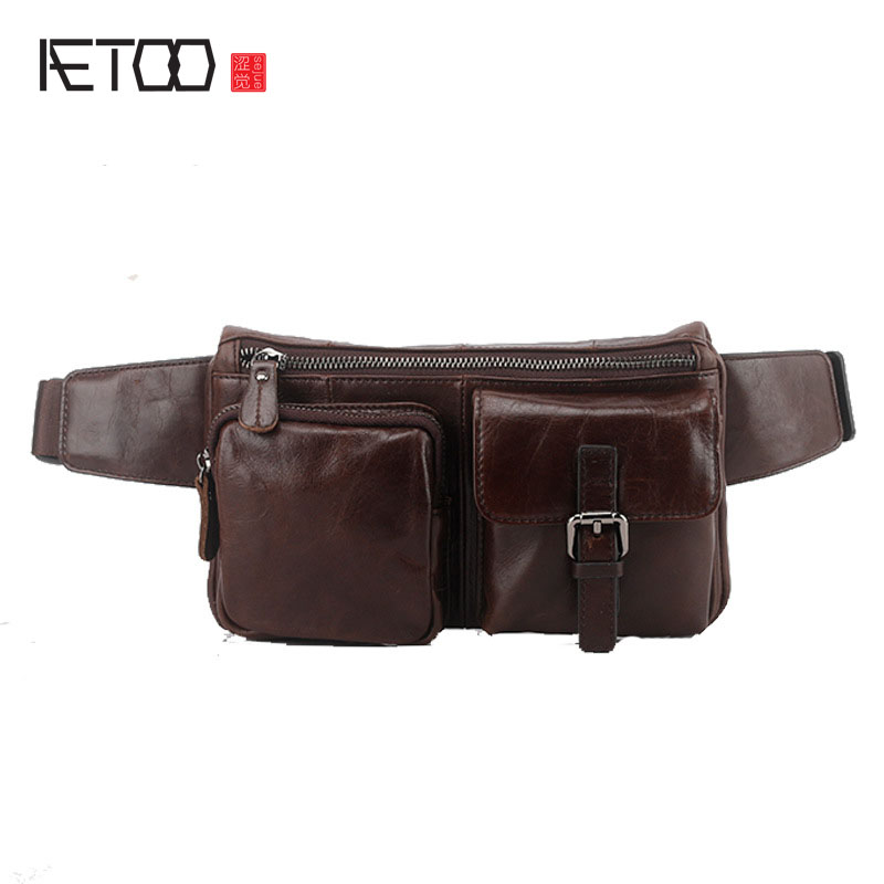 AETOO The new mens leather pockets tide cool style multi-functional first layer of leather Messenger bag purse men
