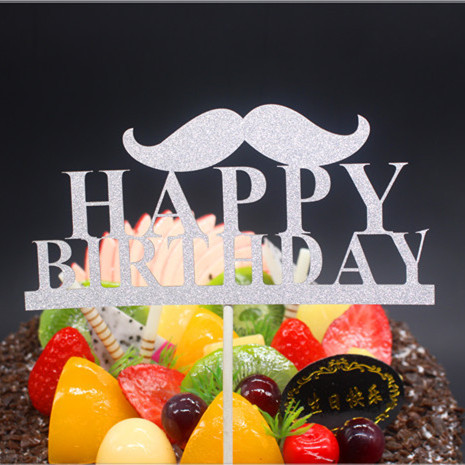 DIY boldog születésnapot apa bajusz torta zászló felső színű - Ünnepi és party kellékek - Fénykép 6
